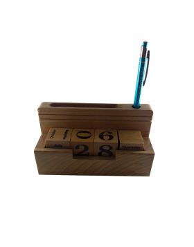PENHOUSE.IN MODEL: 12558 – WOODEN BOX WITH CALANDER AND WITH PEN HOLDING AND CARDS