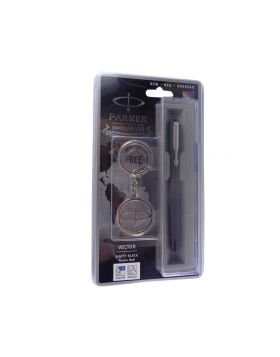 Parker  vector  Model: 13563 matte black with silver clip  cap type with key chain fine Tip Roller ball