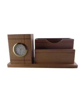 Penhouse.in Model: 13757 Wooden penstand with clock and card holder