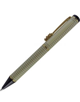 Penhouse.in Model: 13809 Yellow color checked design with dragon clip with medium tip ball pen