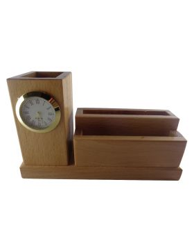 Penhouse.in Model: 14956 Wooden pen stand with mobile holder card holder and clock
