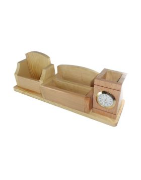 Penhouse.in Model: 14958 Wooden pen stand with clock mobile holder and card holder