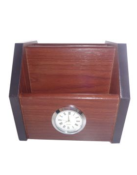 Penhouse.in Model: 14983 multifunctional hexagonal  Wooden pen Stand with clock mobile holder and card holder