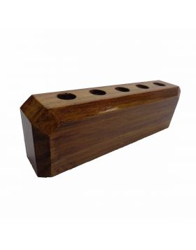 Penhouse.in Model: 15340 Brown color Rectangle shape wooden penstand with 5 pen holder