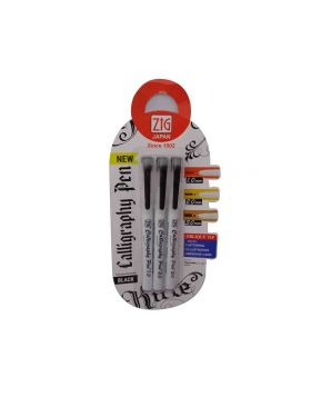 Zig Model: 15498 White color body with black ink 1.0mm, 2.0mm & 3.0mm calligraphy set pen