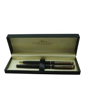 Submarine  2051 Model:15989   Slim Mat Finish  Black Color Body  With Gold Color Clip Fine Tip  Roller And Ball Pen Set