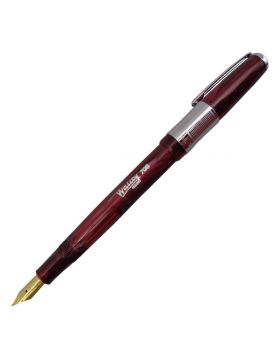Wality Regd  708 Model:16022 Short Ruby Red Color Marble Finish Design Body With Silver Clip Cap Type Fine Tip Fountain Pen