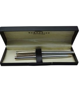 Submarin Model:16043 Slim Full Silver Color Body With Fine Tip Ball And Gel Set Pen