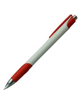 Penhouse Model:16056 White Color Body With Red Color Clip Type  Fine Tip Click Type Ball Pen