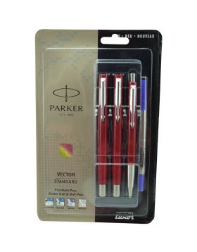 Parker Vector Standard Model:16073  Red  Color Body With Silver  Clip Fountain and Roller Ball and Ball Set Pen
