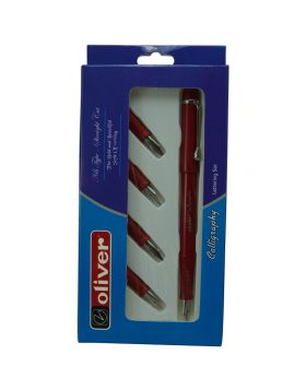 Oliver Calligrapher  Model:16124  Red   Color  Body With 5  Nib Set  Calligraphy Pen Set Straight Cut