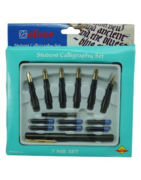 Oliver Student Calligrapher  Model:16125  Black   Color  Body With 7  Nib Set  Calligraphy Pen  and 6 Catridge With Convertor Set