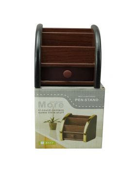 Penhouse Model:16239  Brown Color Body With Tray Type  Multifunction  Pen  Stand  Holder
