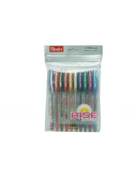 Montex Rise Model: 16298 10 Colors Pack Cap Type Gel Pen
