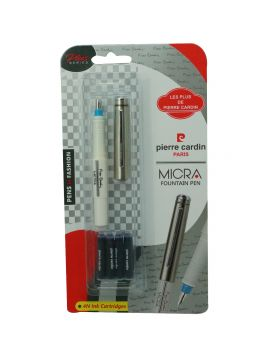 Pierre Cardin Micro Model:16490 White Color Body With Blue Color on Nib Side Fine Tip With 4 Catridge Silver Cap Fountain Pen