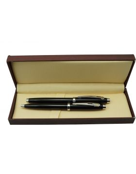 Model: 16801  Black Color Body  With Silver Clip Roller and Ball Set Pen