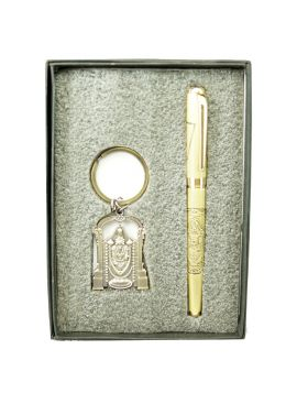 Penhouse Model:17011 Full Golden Color Perumal Design Body With Perumal Keychain Set Roller Ballpen