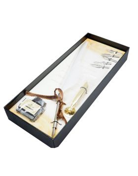 Penhouse Model :17340 Silver Color Body & White Color Feather Pen with Five Nibs And  Ink Bottle