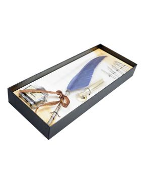 Penhouse Model :17341 Silver Color Body &  Blue Color  Feather Pen with Five Nibs And  Ink Bottle