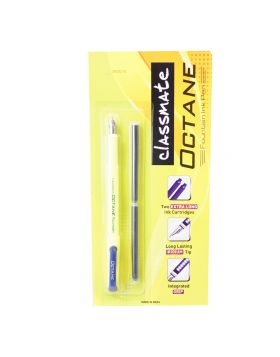 Classmate Octane Model : 17454 Lime Yellow Color With Blue Color Clip WithTwo Cartridges Fountain Pen