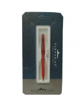 Submarine 922 Model:17608 Slim Red Color Body With  Black Clip Fine  Tip Twist Type  Ball Pen