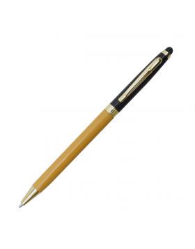 Penhouse Model:17626 Slim Yellow With Black Color Body  Twist  Type Design With Stylus On Top Ball Pen