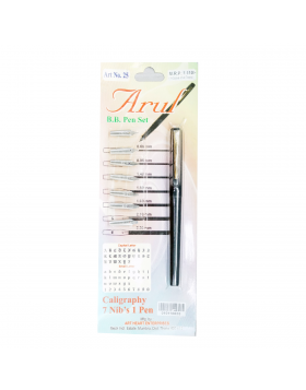 Arul ART No.25 Model:17646 Black Color Body With Gold Clip With One Pen & Extra7 Set B.B.Pen Set
