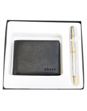 Cross AC330/662-2 Model : 17683 Full Silver Color Body With Golden Color  Clip Twist  Type Ball Pen With Wallet Set