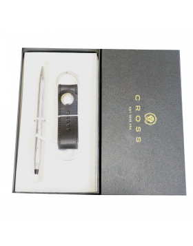Cross AC593/3502  Model : 17684 Full Silver Color Body With Twist Type Ball Pen With Key Chain Tag