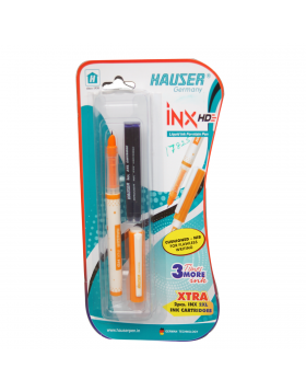 Hauser INX HD Model:17825 Orange Color Body Fine Nib With Two Cartridge