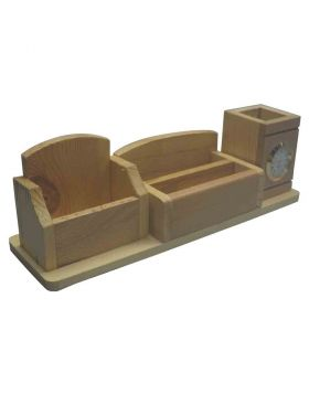 penhouse.in Customized Wooden Stand with Clock and Pen holder with mobile and Card Holder - Model 18365
