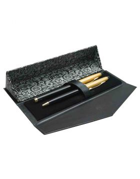 Submarine - Black Color Body and Gold Cap Roller Ball and Ball Pen Set Model 18396