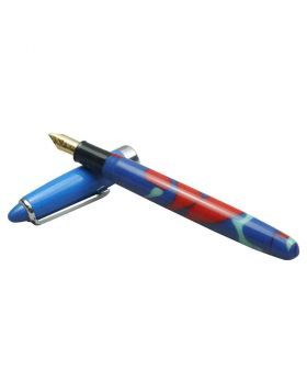 Airmail Wality 69A Blue and Red mixed Marble Acrylic Body Fountain Pen Model 18475