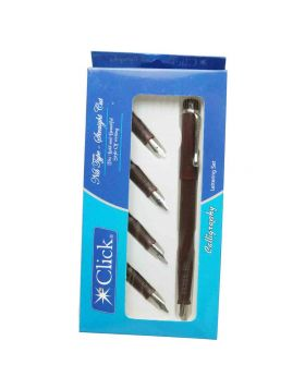 Click Calligraphy - Straight Cut Marrown Color Body and 4 Sections pack Calligraphy Pen Model 18883